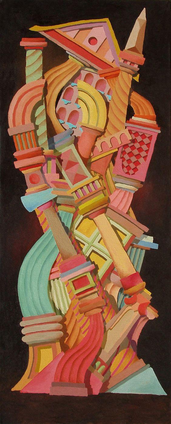 "Federico Cortese: ""The tower"". Oil on canvas; 40 x 100 cm; 1990."