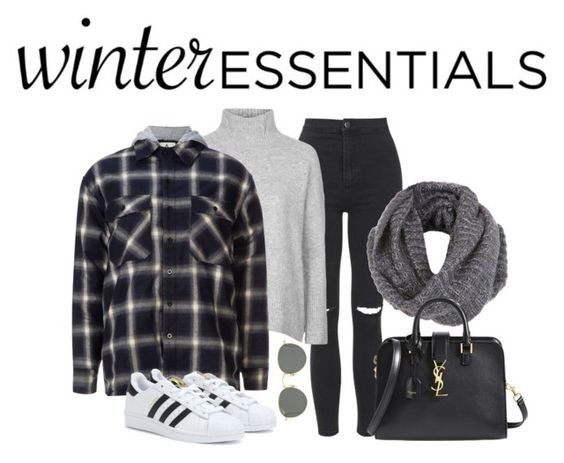 """""""my winter essentials"""" by ericacavaco12 ❤ liked on Polyvore featuring Topshop, UNIF, adidas, Ray-Ban, Miss Selfridge, Yves Saint Laurent, winteressentials and winter2015"""