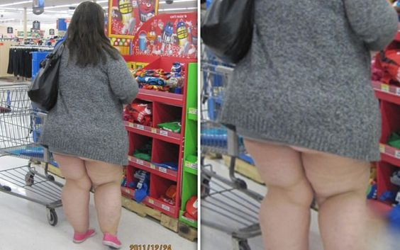 Ummm, I think you forgot something...Sweater, Pink Shoes, and No Pants at Walmart - (Some disturbing and Funny Pictures at Walmart)