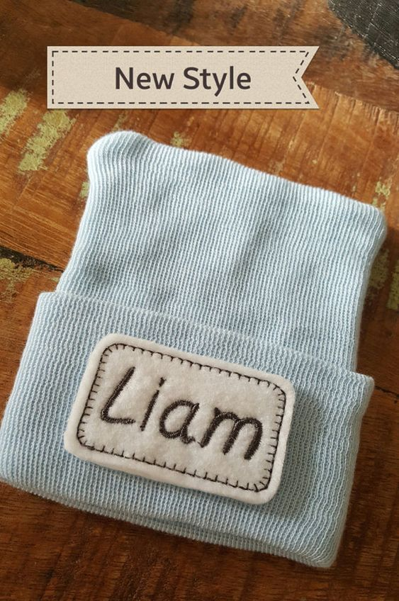 Personalized Baby Boy Hat.  Baby Boy Newborn by TurtleBugSoup