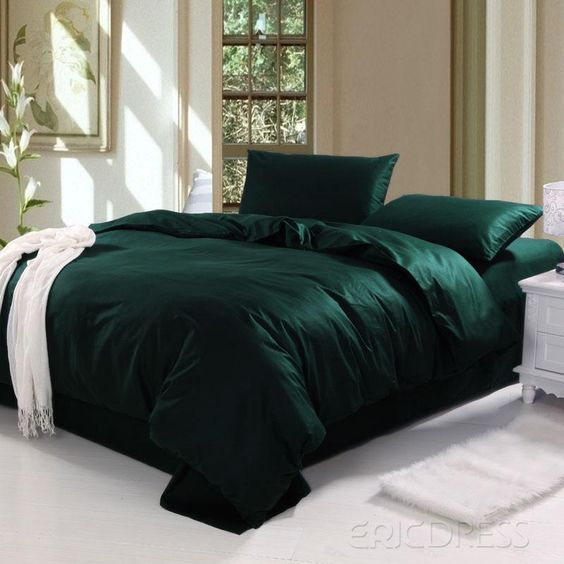 Dark Comforter Sets Modern Classic Bedroom Design 3 Pieces Dark Color Soft King Comforter Set: Dark Green Bedding Sets Ocyorsz