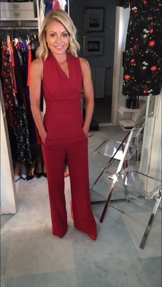 Kelly ripa in a red roland mouret jumpsuit kelly s fashion finder