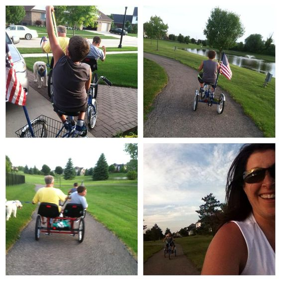 """We took our very first bike ride all together as a family yesterday! My twin boys are 10 and they have autism, and it's something we've always hoped to do! Done! With more to come! We just needed a couple of special bikes and a lot of perseverance."" Facebook name: Diana Pode-DeGroot"