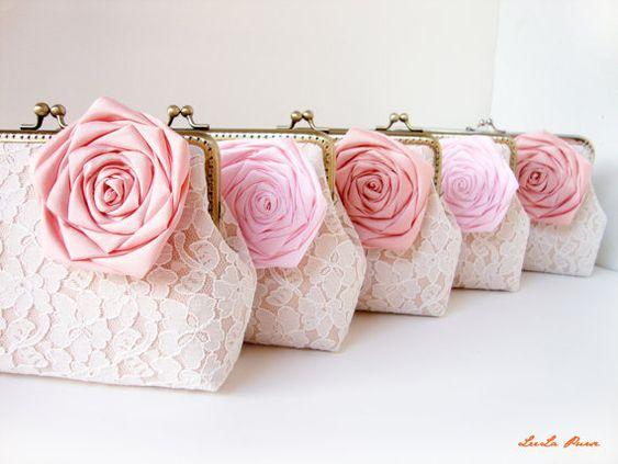 Personalized Bridesmaid Gifts Clutch with Set of 5 by LeelaPurse, $230.00