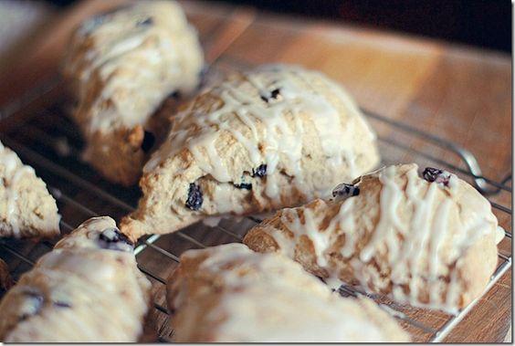 Skinny cinnamon raisin scones:  1 cup unbleached all-purpose flour  1 cup whole wheat flour  1/4 cup brown sugar  3 Tbsp baking powder  1/2 tsp. salt  3 Tbsp cold light butter  1/4 cup fat-free milk  2 tsp. vanilla extract  1 tsp. cinnamon  2 eggs  1/2 cup raisins