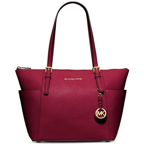 Michael Michael Kors Jet Set East West Top Zip Tote ($248) ❤ liked on Polyvore featuring bags, handbags, tote bags, zip top leather tote, travel tote, leather handbag tote, handbags totes and purple leather purse