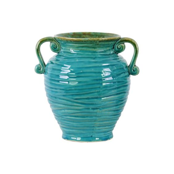 Urban Trends Collection Turquoise Gloss Ribbed Design Round Bellied Vase with Tapered Bottom and Side Handles