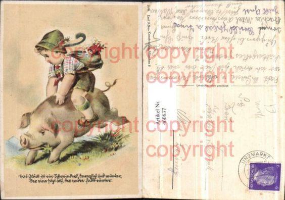 Künstler AK Kind Tracht Schwein reiten Humor Spruch Nr. 460637 - oldthing…