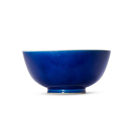 A BLUE-GLAZED BOWL, QIANLONG SIX-CHARACTER SEAL MARK IN UNDERGLAZE BLUE AND OF THE PERIOD (1736-1795) | Christie's