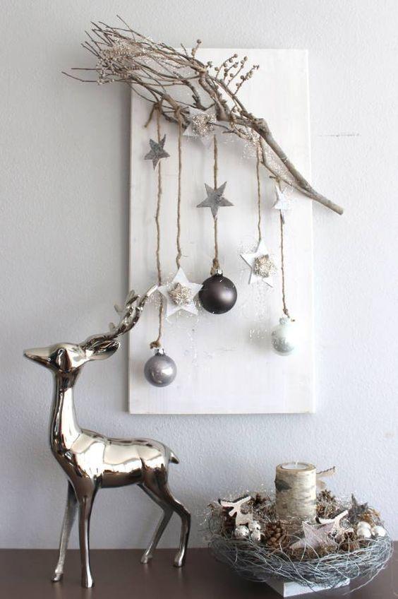 AW56 %u2013 Edle Weihnachtswanddeko! Holzbrett nat rlich dekoriert ...