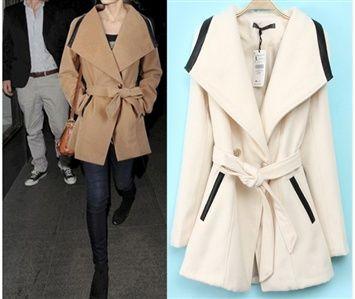 Veegol™  Women's Winter European Style Wide Lapels PU Stitching Woolen Overcoat