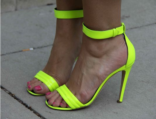 These sandals are to die for! Rock some neon on your feet.