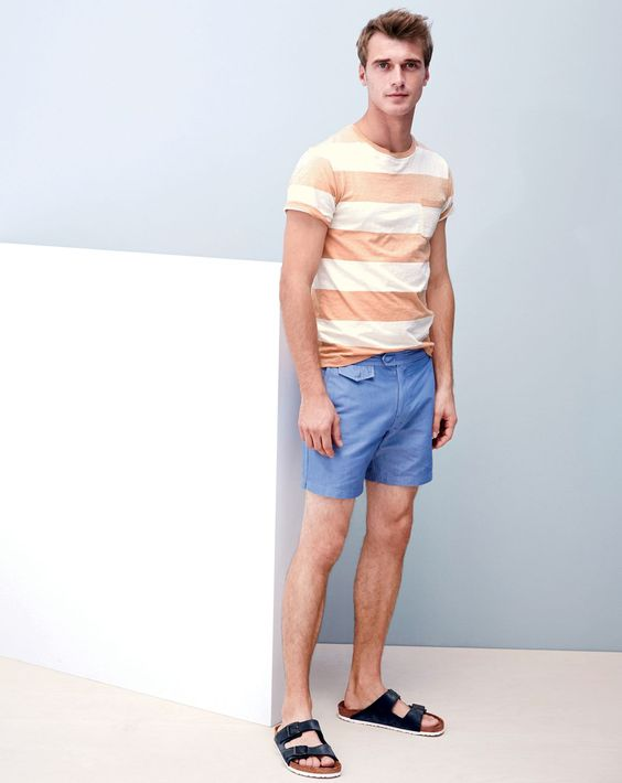 "J.Crew men's sun-faded pocket in surf stripe tee, 6.5"" tab short in chambray swim, and Birkenstock for J.Crew Arizona sandals.:"