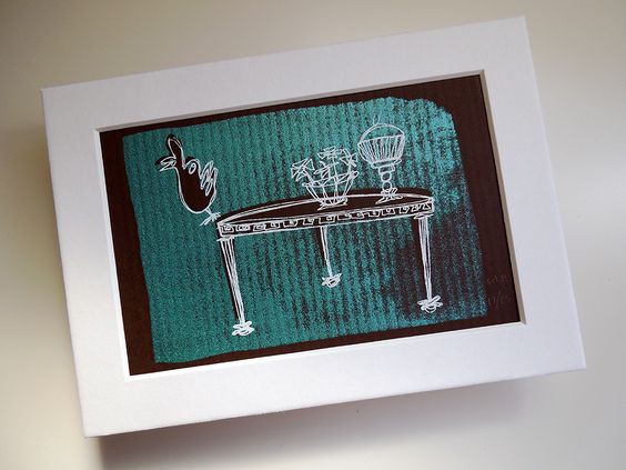 Curios (on Chocolate Brown) Mini Print with Mat by Kathryn DiLego