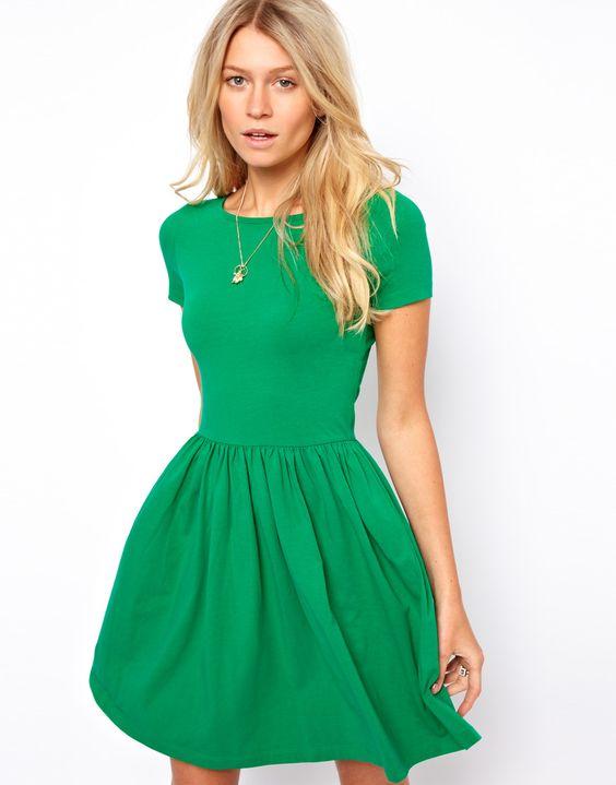 Skater Dress With Slash Neck And Short Sleeve  Pinterest  Green ...