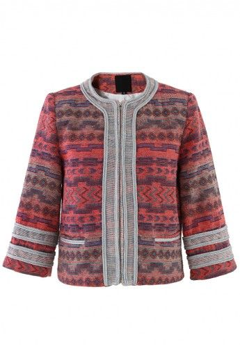 Aztec Embroidered Jacket with Silver Trim