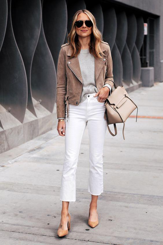 Fashion Jackson Capsule Wardrobe Wearing Blanknyc Tan Suede Moto Jacket Grey Sweater Everlane White Cropped Jeans Tan Pumps Celine Mini Belt Bag