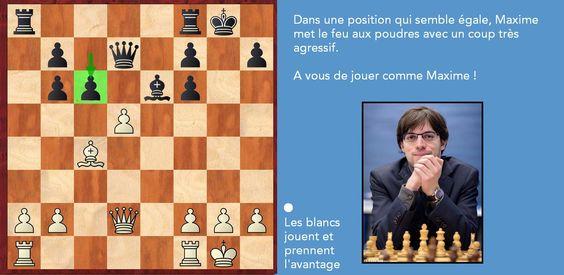 Comment évoquer le haut-niveau français sans revenir sur la performance extraordinaire de Maxime Vachier-Lagrave au tournoi Tata Steel Chess ? Jouez comme Maxime avec les blancs et prenez l'avantage ! (La partie complète est consultable ici : http://bit.ly/MVLgiri)