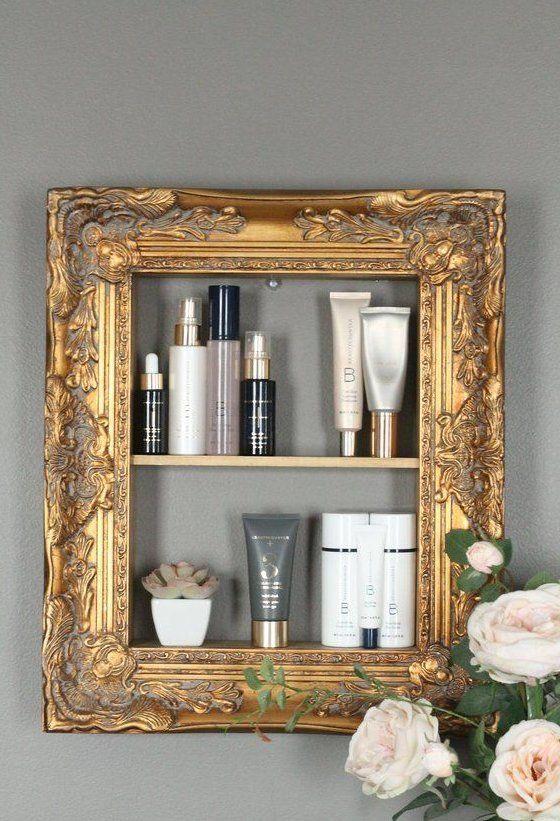 Storage Shelf Perfume Storage Shelf Beauty Product Rack Wall Mounted Storage Salon Storage Salon In 2020 Shabby Chic Frames Shabby Chic Shelves Perfume Storage