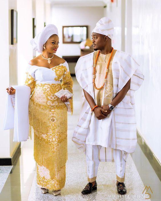 40 Yoruba Traditional Wedding Styles To Wow In 2020 Idonsab In 2020 African Traditional Wedding Dress Traditional Wedding Attire Nigerian Wedding Dresses Traditional
