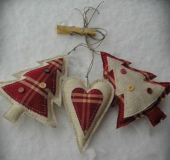 Christmas decorations - fabric hearts & Xmas trees