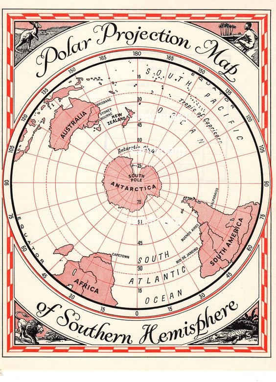 polar projection map This example shows how to create a south-polar stereographic azimuthal projection map extending from the south pole to 20 degrees s, centered on longitude 150 degrees west include a value for the origin property in order to control the central meridian.