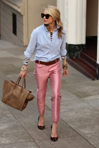 Love the shiny pink pant with the oxford shirt and hint of stripe.
