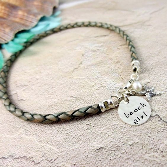 Leather Bracelet - Hand Stamped Jewelry - Ankle Bracelet - Sterling Silver - Personalized