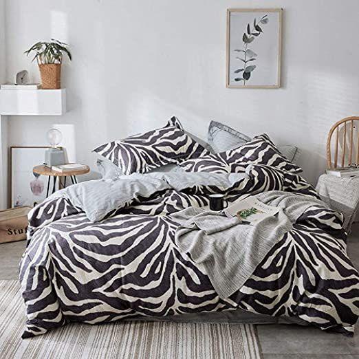 Llwannr Duvet Covers Zebra Design Bedding Set 100 Cotton Duvet Cover Flat Sheet Pillowcase Quilt Cover Bed Set Full Q Bedding Set Zebra Bedding Blue Bedspread