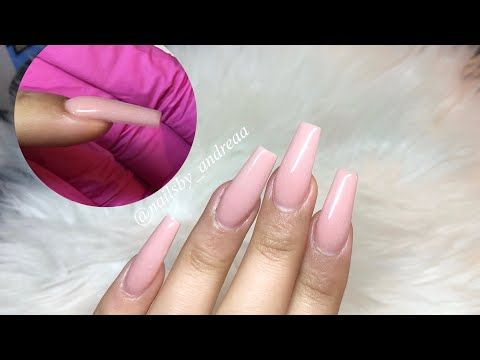 Acrylic Nails For Beginners Full Process I Tried Doing The 3 Ball Method Youtube In 2020 Glue On Nails