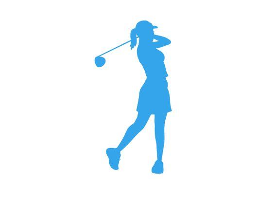 Adhesivo deportivo de golf. Silueta de mujer golfista.
