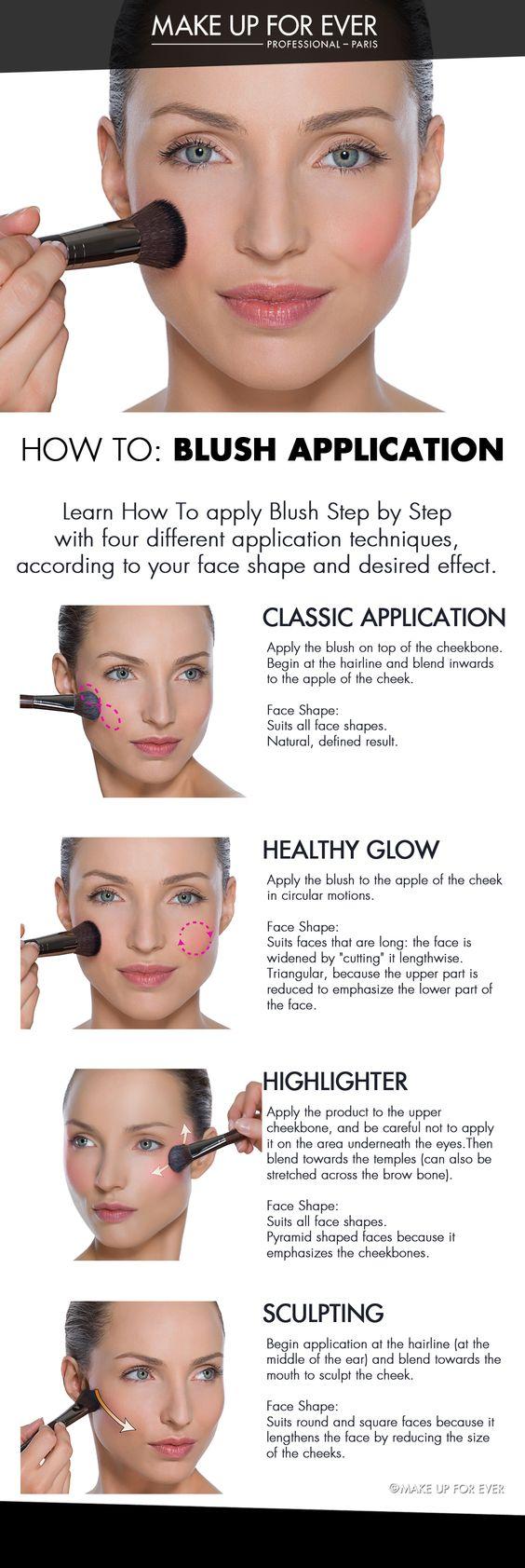 four blush application techniques