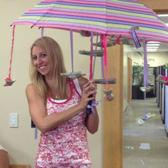 Money Umbrella For A Wedding Shower. Creative Way To Give