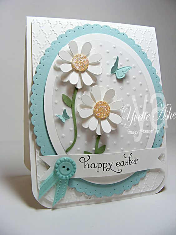 Stamps: Delightful Dozen  Paper: Whisper White, Pool Party, Vellum Cardstock, So Saffron, Wild Wasabi    Ink: Black StazOn  Accessories: Fancy Fan Folder, Perfect Polka Dots Folder, Beautiful Wings Embosslits Folder, Ovals Collection Framelits Dies, Blossom Party Originals Die, Big Shot, 1-3/8″ Circle Punch, Bird Builder Punch, Sycamore Street Ribbon and Button (Pool Party), Occasions Paper-Piercing Pack, Dazzling Diamonds Glitter, Stampin' Dimensionals