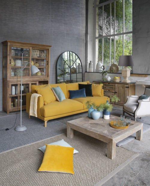 Canape 3 Places En Coton Et Lin Jaune Moutarde Raoul Maisons Du Monde Canape De Couleur Mobilier De Salon Canape Jaune