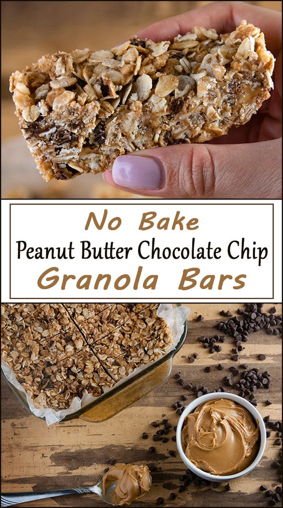 No Bake Peanut Butter Chocolate Chip Granola Bars | Recipe | Butter ...