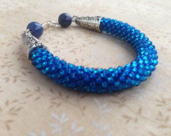 Handmade Crochet Rainbow Blue Seed Beads Bracelet