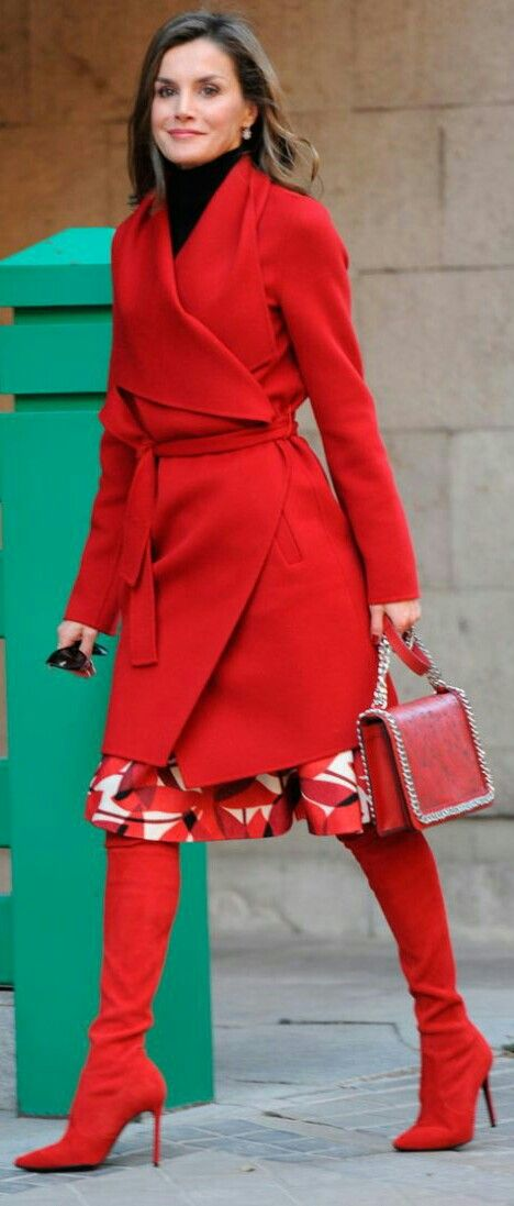 "Queen Letizia - Total #red - Hugo Boss coat - Carolina Herrera skirt - Magrit ""Francesca"" boots - Zara laser cut leather bag"
