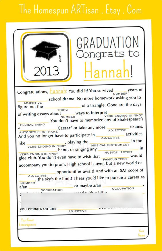 Graduation MAD LIBS Game  High School  by TheHomespunArtisan, $19.95