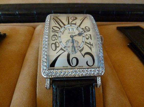 FRANCK MULLER € 16500, - Long Island Big Date 1200 S6 komplett mit Diamanten besetzt