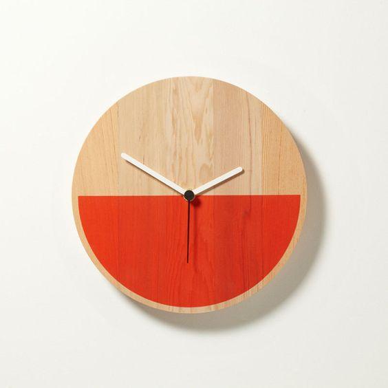 HALF - Red/Orange: Colorblock Clock, Cool Clocks, Wood Clocks, Clock David, Diy Project, Weatherhead Goodd, Wall Clocks