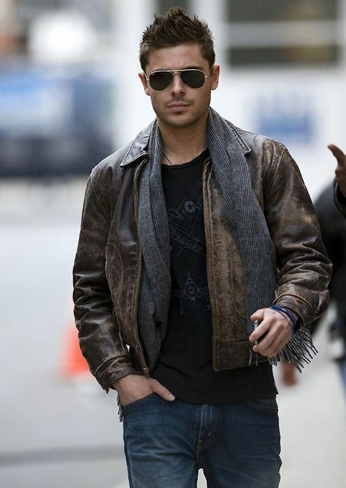 Zac Efron Leatherjacketsformenbrown With Images Mens Fashion