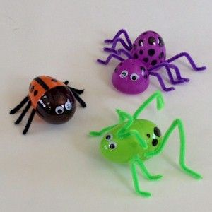 uses hot glue... need to figure out kid friendly way to make this work for plagues, creation Recycled Plastic Egg Bugs - Fun Family Crafts