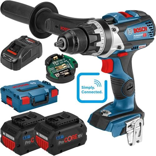 Click To Enlarge Bosch Gsr 18v 85 C 18v Robustseries Brushless Drill Driver With Two 8 0ah High Power Procore Batteries Gcy 30 4 Bluetooth Chip