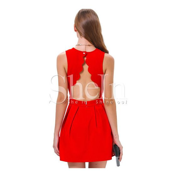 SheIn(sheinside) Red Sleeveless Open Scallop Back Pleated Dress ($17) ❤ liked on Polyvore