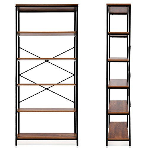 Ferty 5 Tier Bookshelf Multipurpose Vintage Style Wood Bookcase Display Storage Shelves For Home Office Organization Furniture Bookcase Home Office Decor