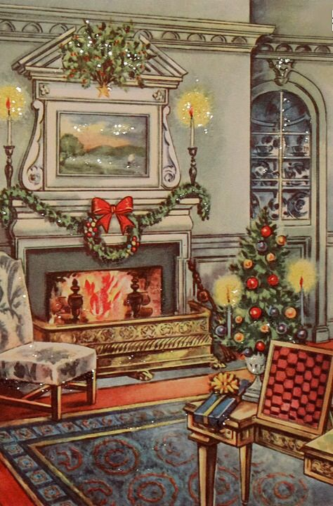 Beautiful Christmas fireside. #vintage #christmas #vintagechristmas: