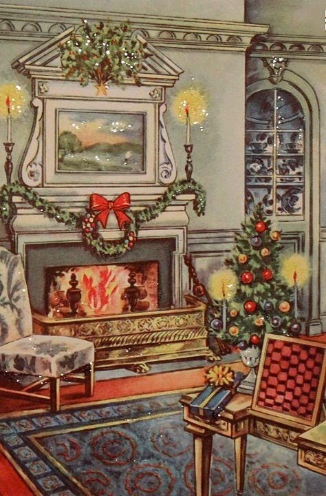 Beautiful Christmas fireside. #vintage #christmas #vintagechristmas: