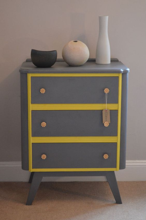 Retro Style Chest of Drawers in Grey and Annie Sloan English Yellow in Home, Furniture & DIY, Furniture, Chests of Drawers | eBay