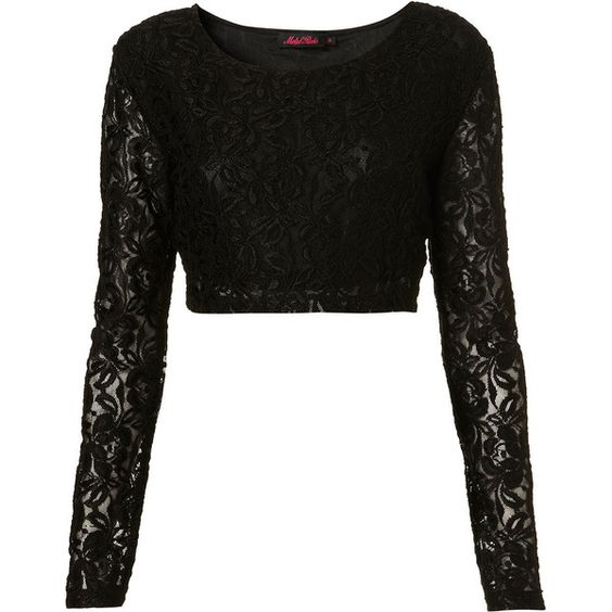 Bonnie Top By Motel** ($58) ❤ liked on Polyvore featuring tops, shirts, women, lace shirt, long sleeve shirts, black top, long sleeve crop top et black shirt